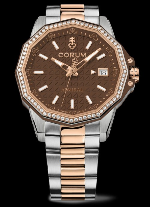 Corum Admiral 38 Automatic New Model with titanium and rose gold case and bracelet, brown dial, rose gold crown and bezel