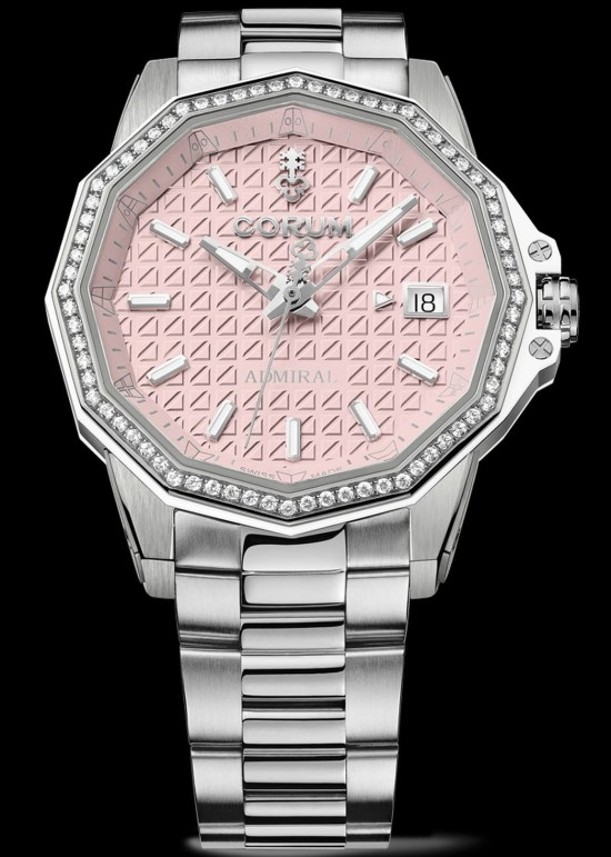 Corum Admiral 38 Automatic New Model with titanium case and bracelet, diamond-set bezel and pink dial