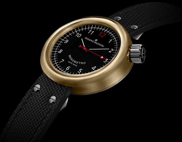 Giuliano Mazzuoli Manometro Compressed watch with bronze case and black dial