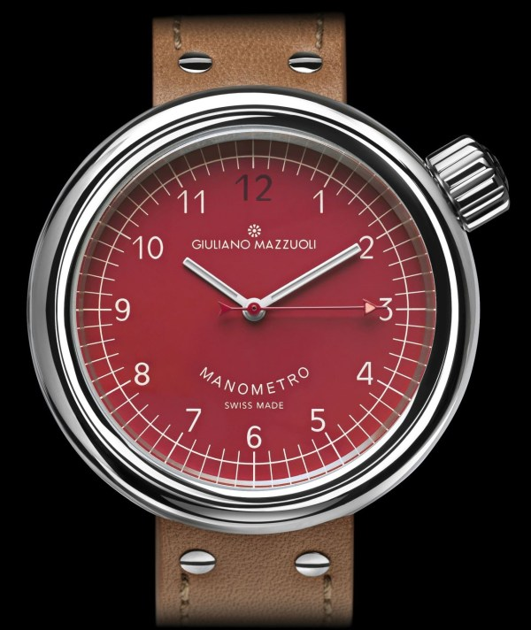 Giuliano Mazzuoli Manometro watch with polished stainless steel case and red dial