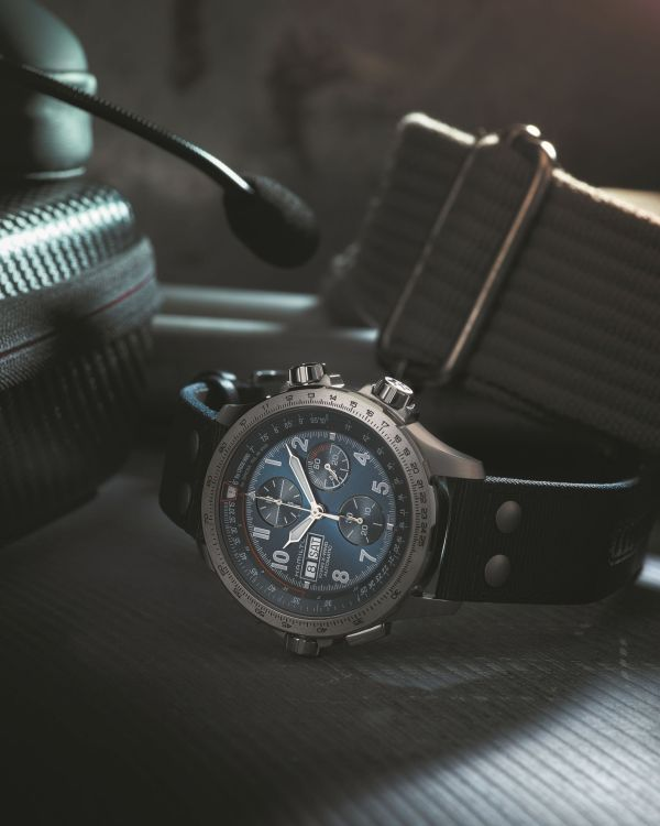 Hamilton Khaki Aviation X-Wind Automatic Chronograph with stainless steel case and blue dial