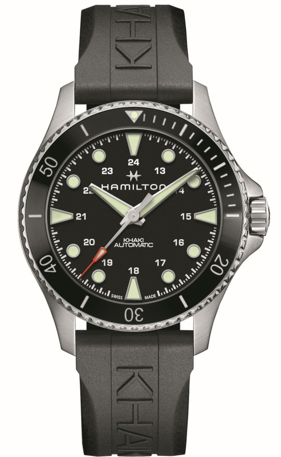 Hamilton Khaki Navy Scuba Automatic 43mm Reference H82515330: Stainless steel case, black dial, black bezel-insert and matching rubber strap