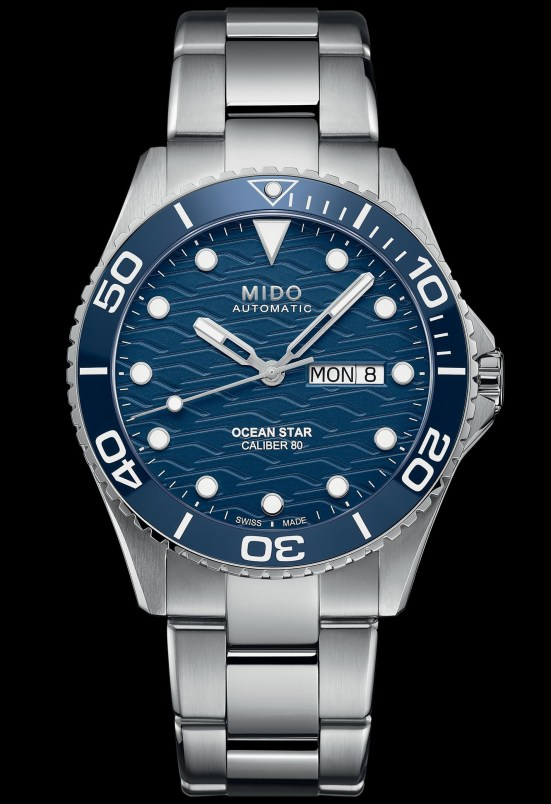 MIDO OCEAN STAR 200C TRILOGY diving watch with blue dial