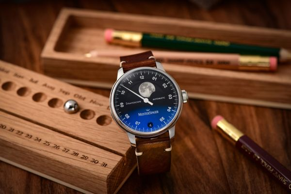 MeisterSinger Stratoscope automatic watch with moonphase