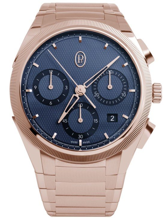 Parmigiani Fleurier Tonda PF Chronograph with polished and satin-finished eco-friendly 18ct rose gold with hand-knurled bezel