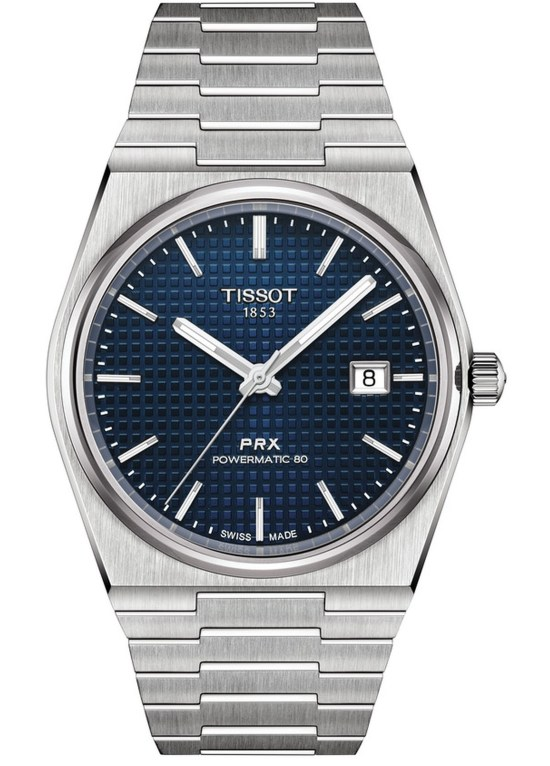Tissot PRX Powermatic 80 watch with blue dial