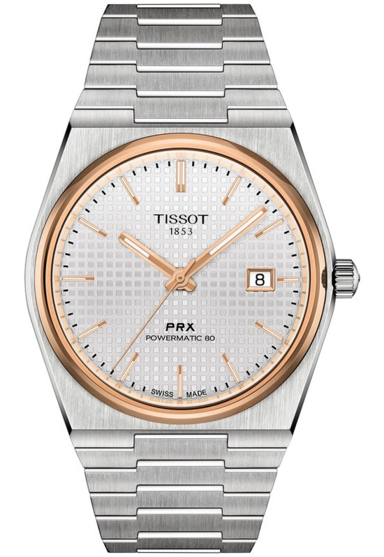 Tissot PRX Powermatic 80 watch with silver dial