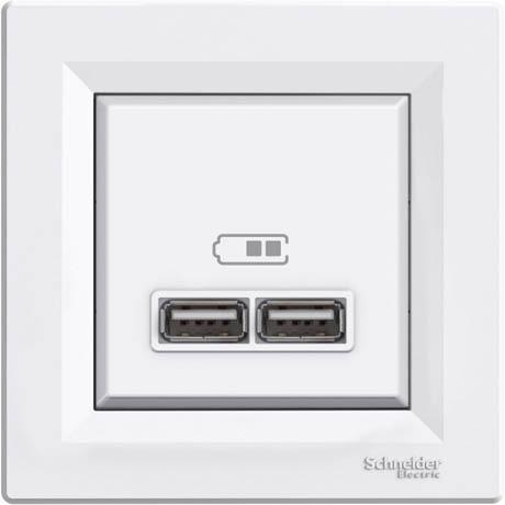Розетка Schneider-Electric Asfora USB белая