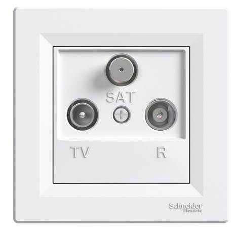 Розетка Schneider-Electric Asfora TV-R-SAT кінцева (1 дБ) біла