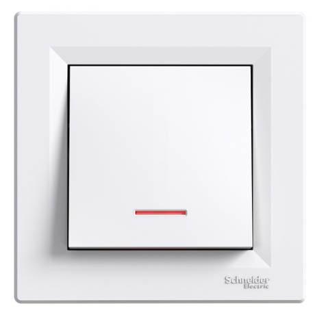 Кнопка Schneider-Electric Asfora 1 кл. подсветка белый