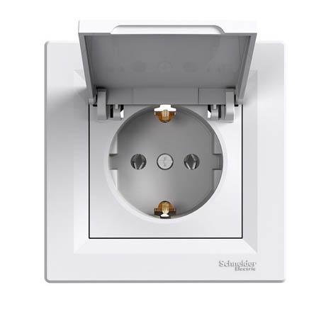Розетка Schneider-Electric Asfora с крышкой, заземлением белая