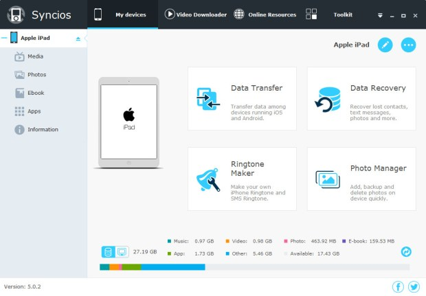 Syncios Manager Pro 6.5.2 license key Free Download