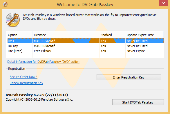DVDFab Passkey Activation code Full Version