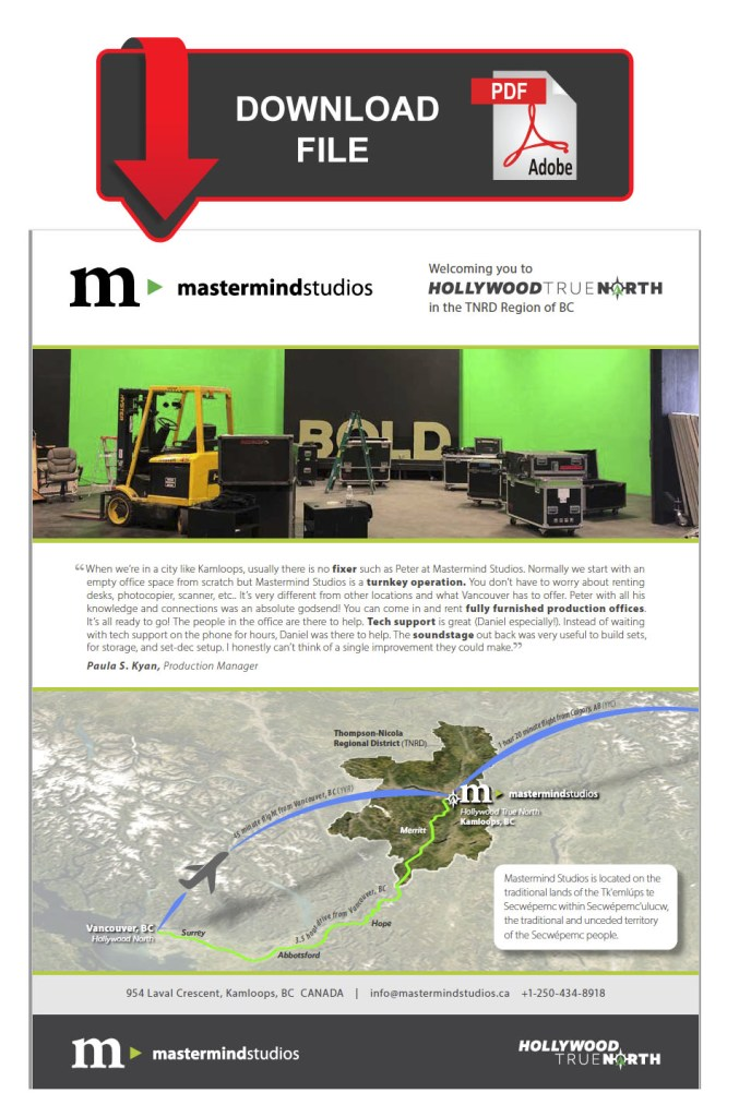 Download the Mastermind Studios Information Package for Television & Motion Picture Industry Professionals