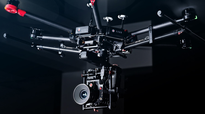 Mastermind Studios has seven (7) different aerial drone platforms including two (2) Matrice 600 Pro Heavy Lift Cinema Packages like the one in the image shown here.