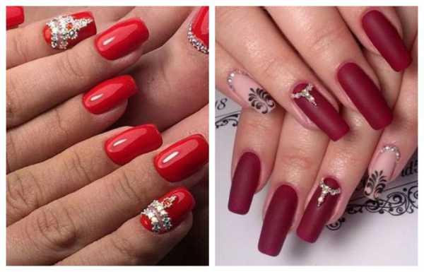 дизайн ногтей красный со стразами 3