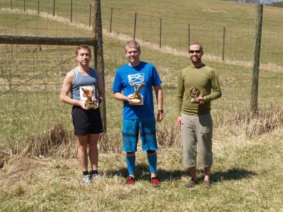 Three top male finishers: Andrew Peddy, Thomas Sharkey, and Jonathan Adcock