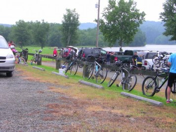 Bikes lined and ready to go.