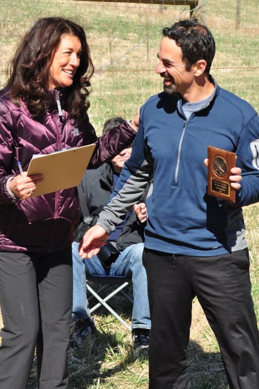 Teresa presenting Josh Lozoff 2nd Overall Male award.