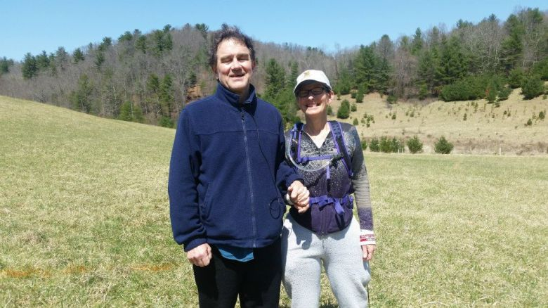 Charlotte supported her husband, David as he finished his last mile; a great team!