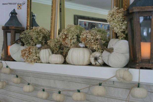 White pumpkin mantel 1