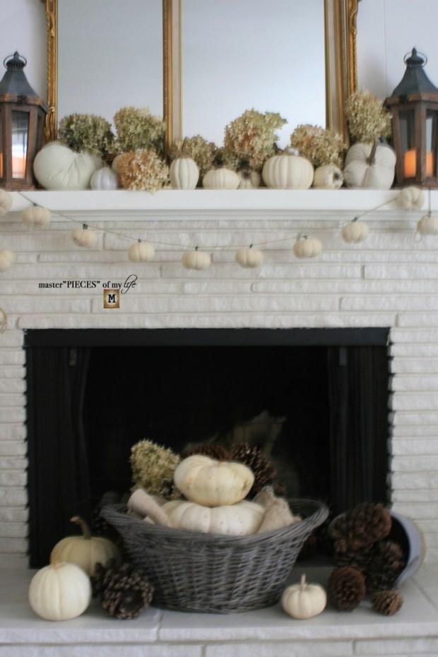 White pumpkin mantel 2