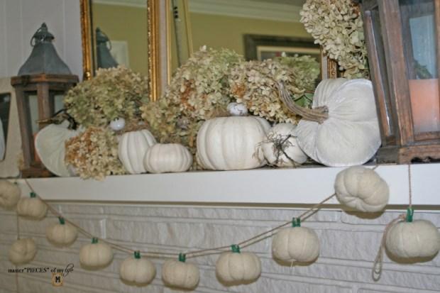 White pumpkin mantel 4