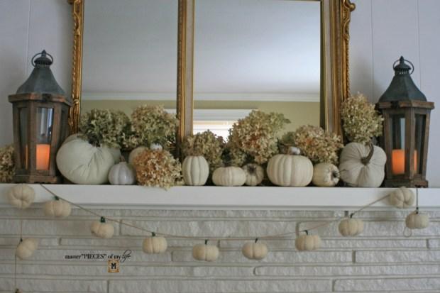 White pumpkin mantel 5