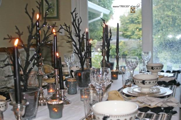 Glitzy halloween tablescape 5