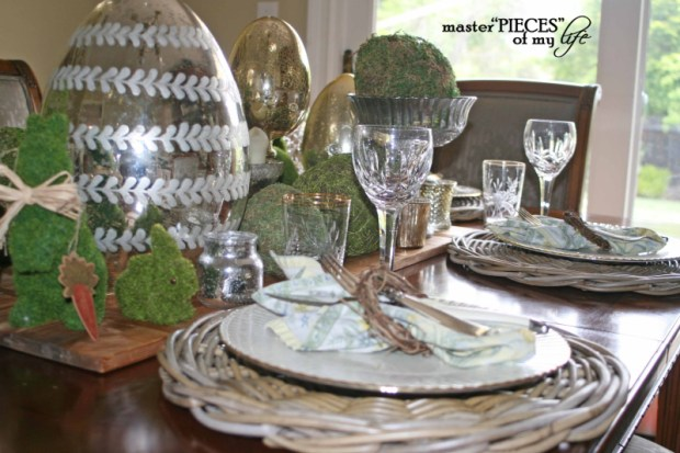 Mercury glass moss easter tablescape8