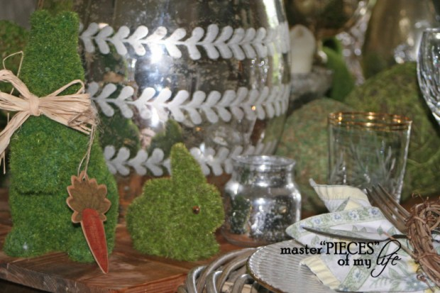 Mercury glass moss easter tablescape9