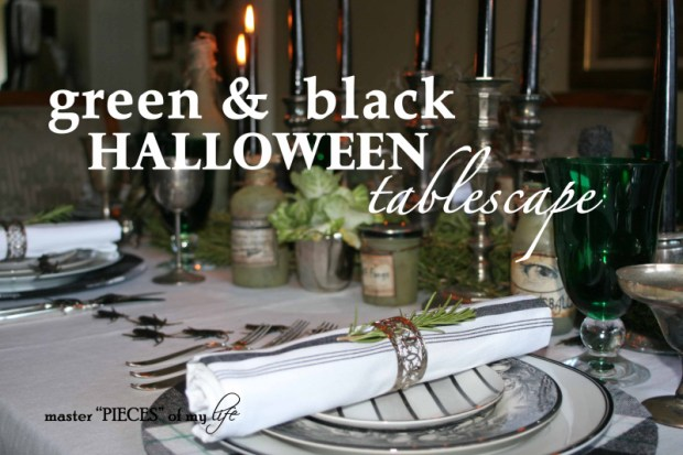 Green & black halloween tablescape