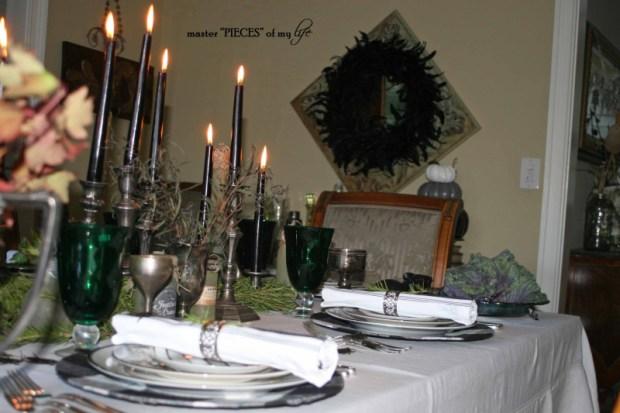 Green & black halloween tablescape14