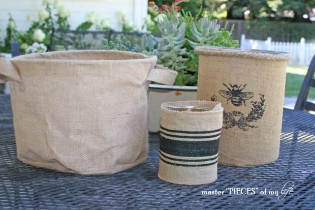 Burlap container gardening 2