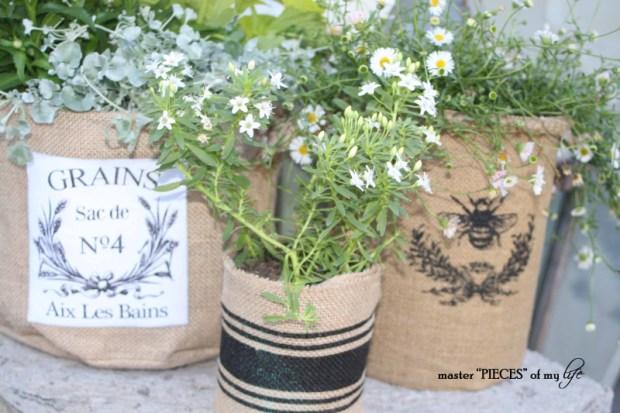 Burlap container gardening 9