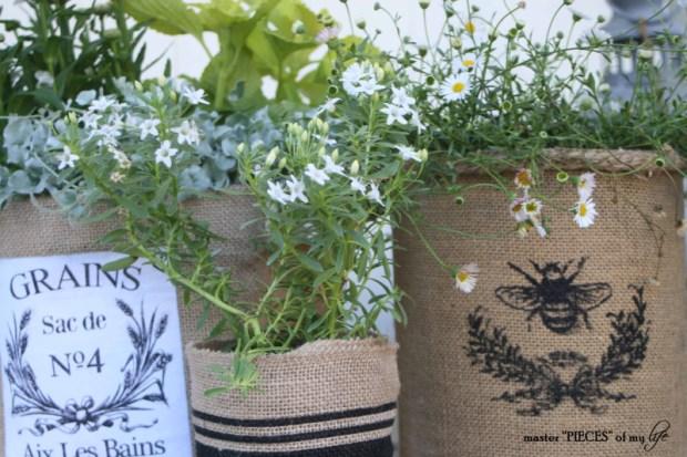 Burlap container gardening 12