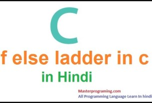 If else ladder in c in Hindi