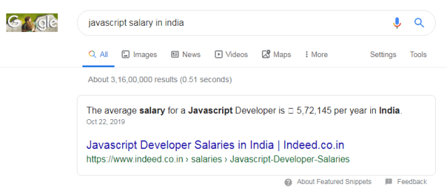 javascript salary in india hindi