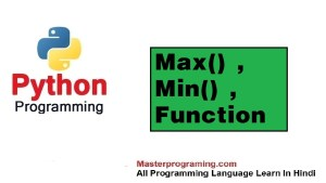 max() and min() Funciton in python