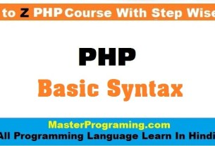 PHP Basic Syntax