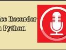 Sound Recorder In Python