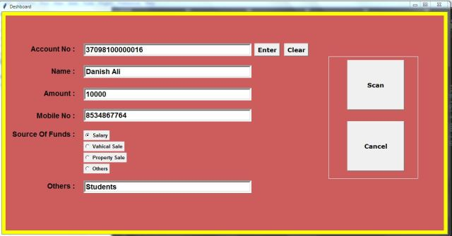 Banking Software In Python Tkinter