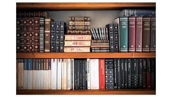 estante com muitos livros