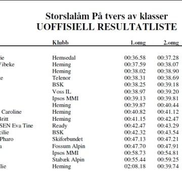 Norwegian Masters renn GS i Lommedalen 1.02.2012 — resultater