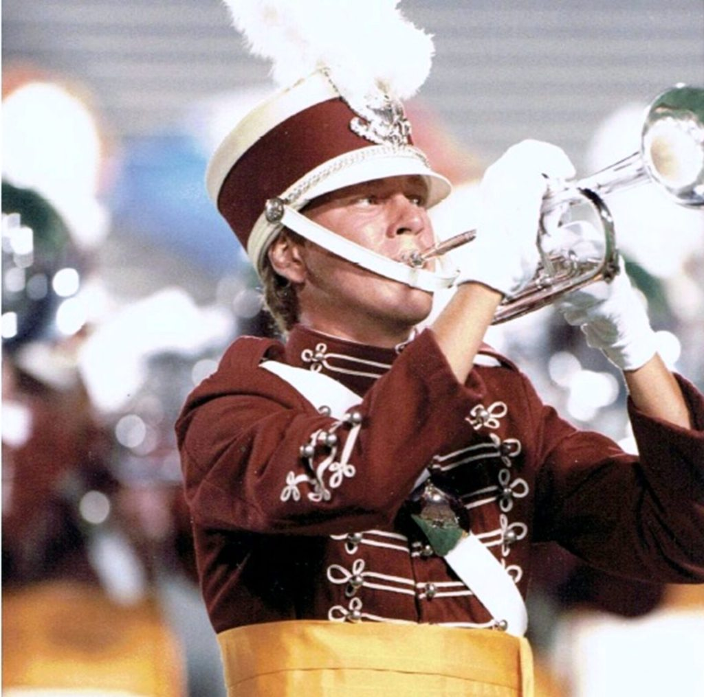 Jeff Sacktig performing with The Cadets of Bergen County, 1989