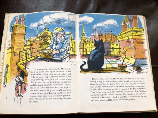 Inside pages from the book Mrs Cockle's Cat