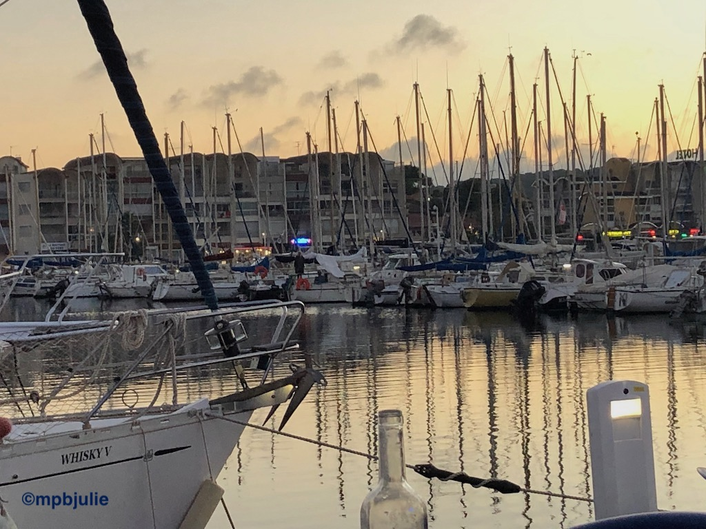 A French harbour at sunset.