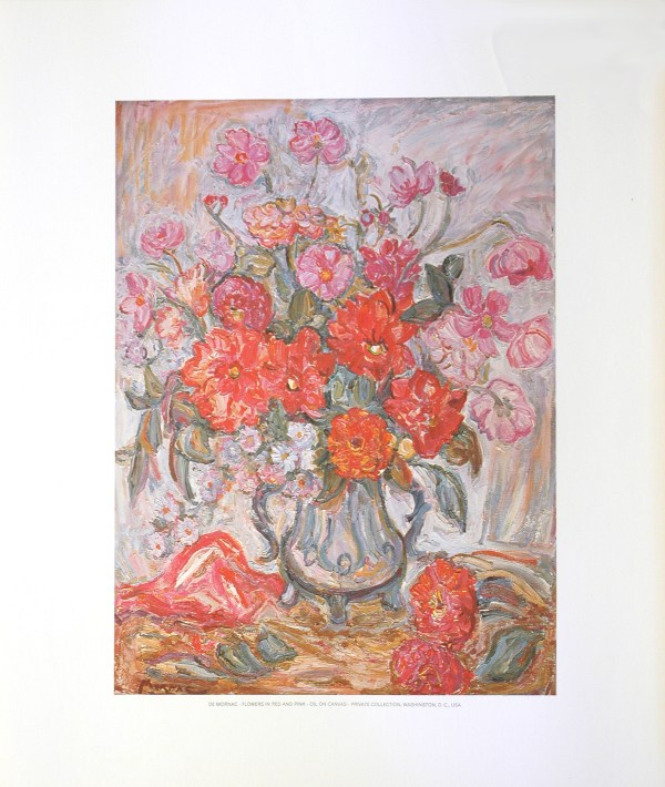 DE MORNAC - FLOWERS IN RED AND PINK (LITHOGRAPH)