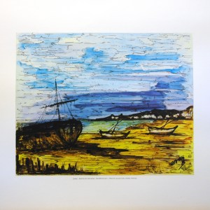 ENRIC - BOATS IN THE SAND (LITHOGRAPH)