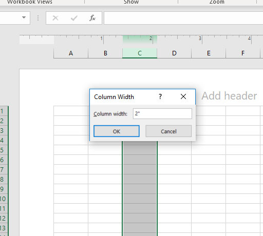how to set the excel column width in inches